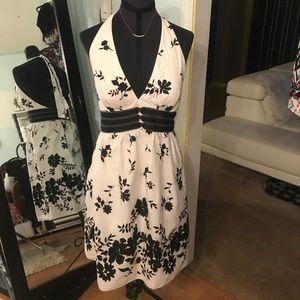 Black & White Halter Dress WHBM Size 4